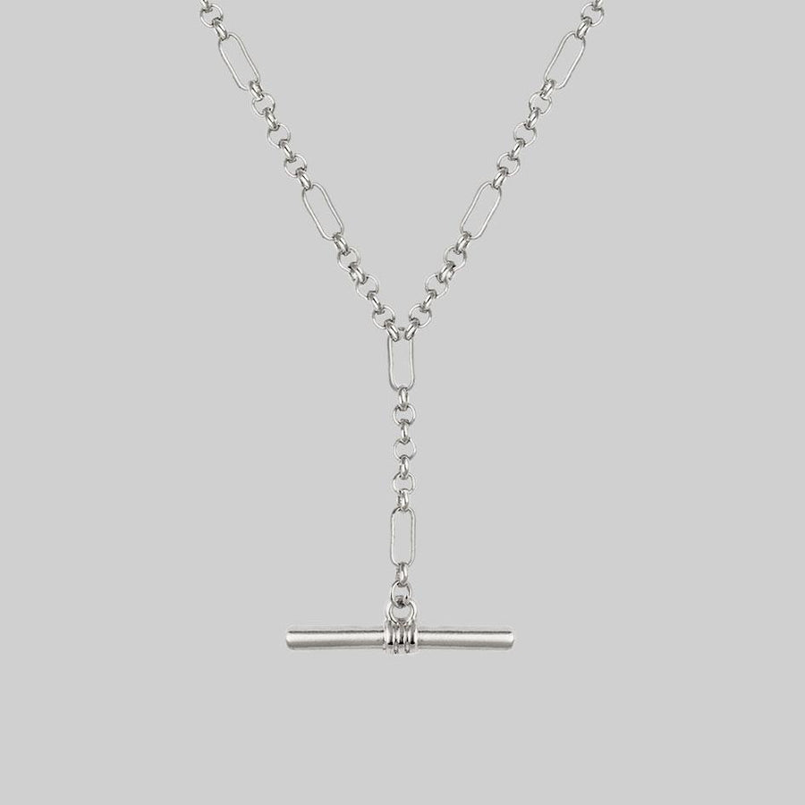 silver chain necklace with t-bar