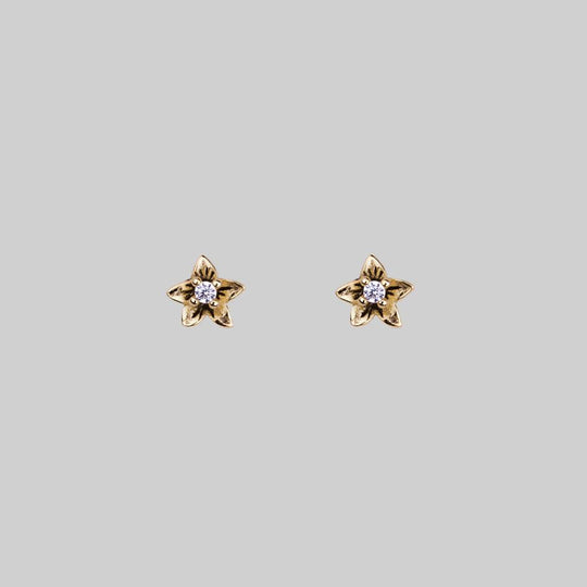 AURORE. Cubic Zirconia Gold Stud Earrings