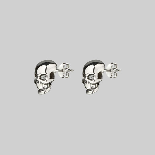 EDIE. Tiny Sterling Silver Skull Studs