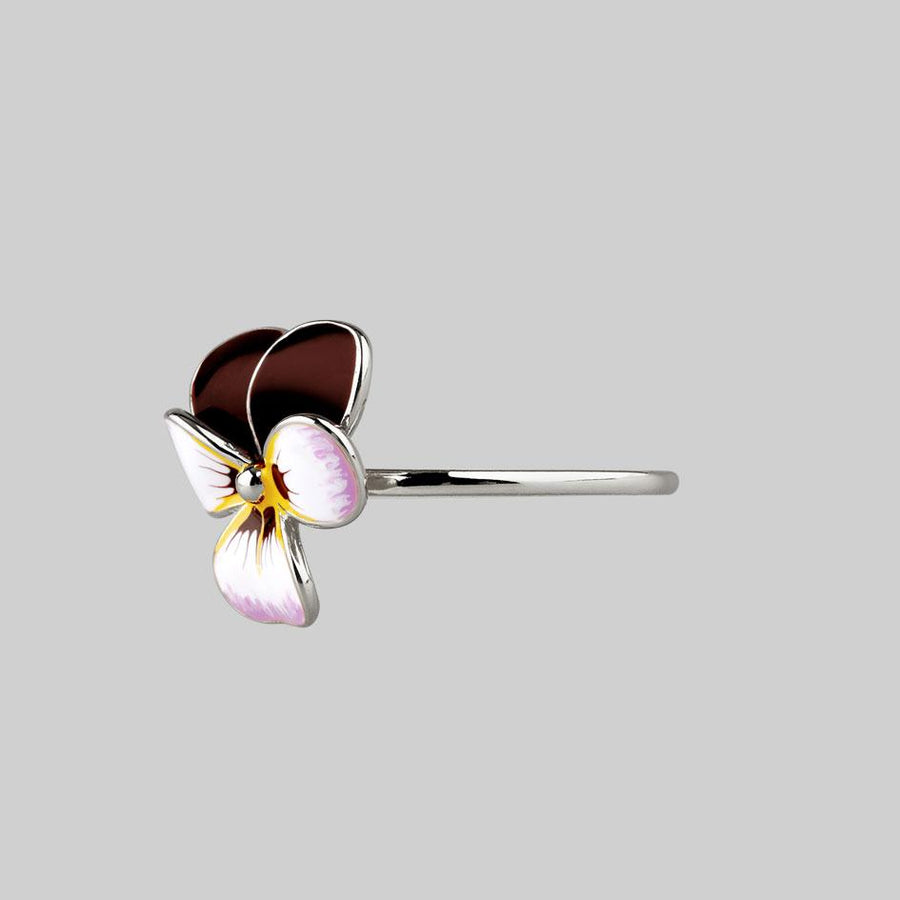 pansy flower sterling silver ring