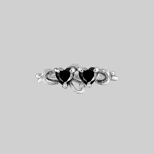 ENTANGLED. Quantum Entangled Onyx Hearts Ring - Silver
