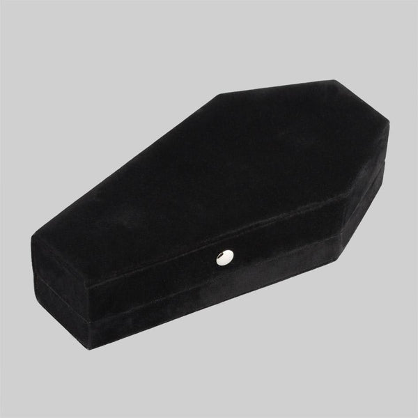 Black velvet coffin jewelry box