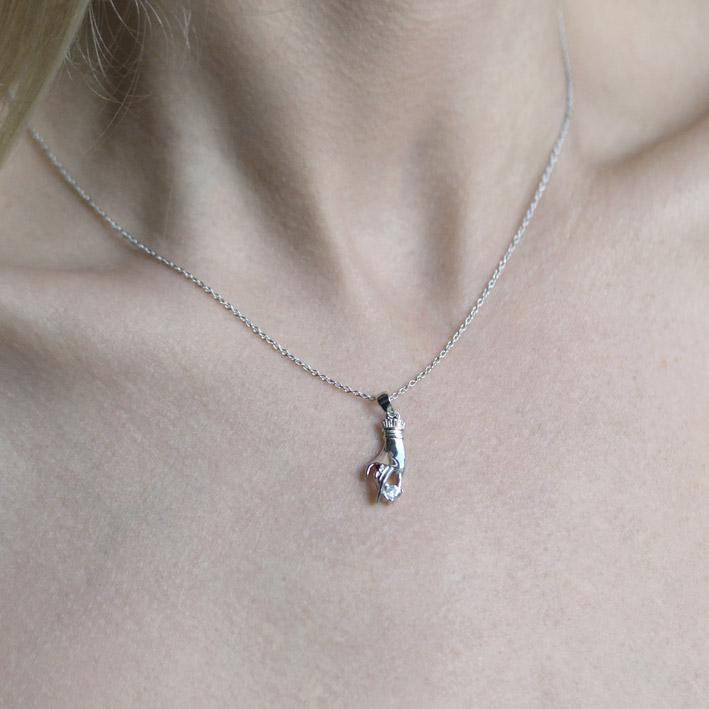 MILDRED. Disembodied Hand Silver Necklace