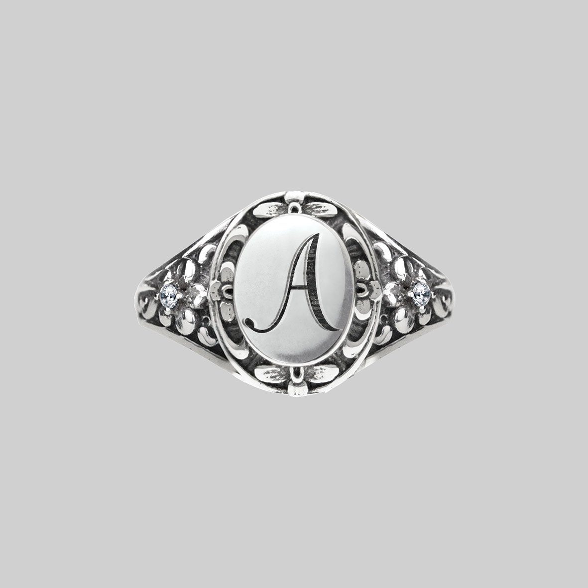 DARK GARDEN. Ornate Initial Ring (N - Z)