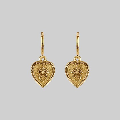 ARDOUR. Sacred Heart Hoop Earrings - Gold