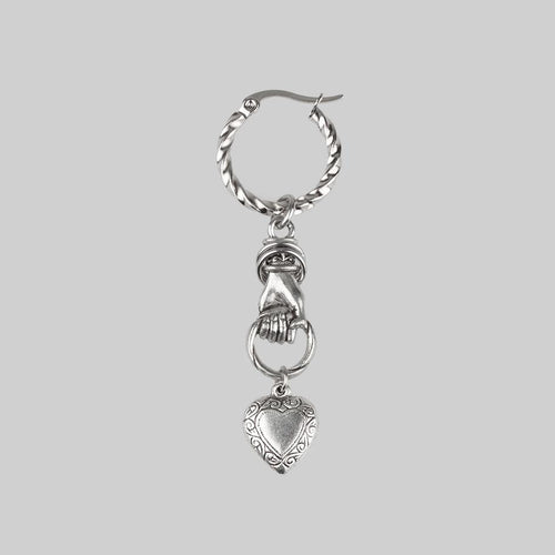 silver hand holding heart single earring