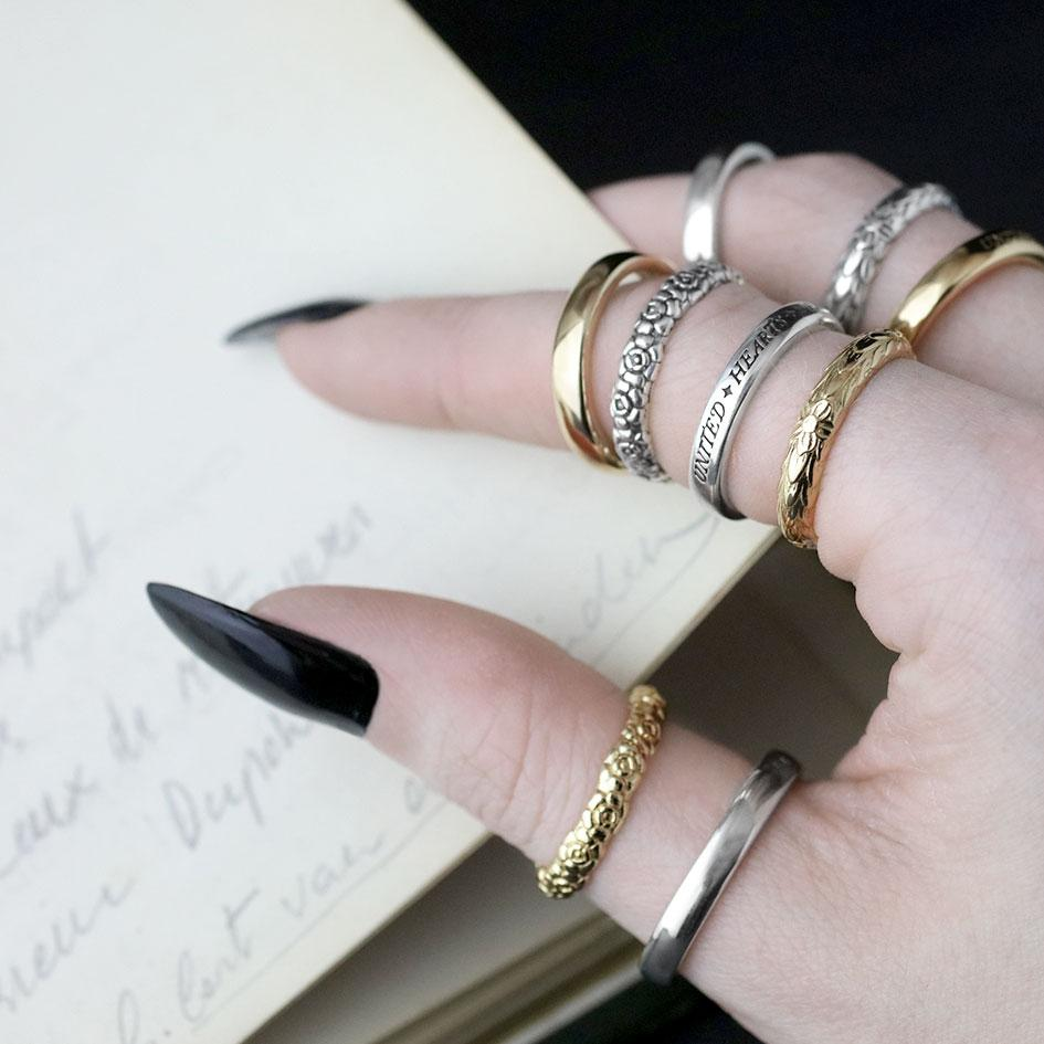 Gold words ring, layering rings