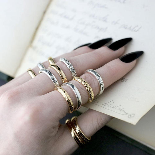 floral poem rings, stacking rings