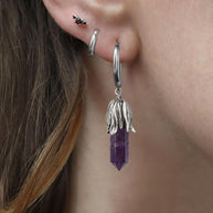 DEATH BLOOM. Amethyst Gemstone Hoop Earrings - Silver