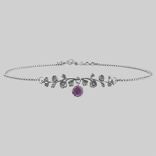 DARK BLOOM. Amethyst Choker - Silver