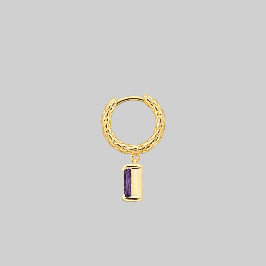 amethyst gemstone charm earring gold
