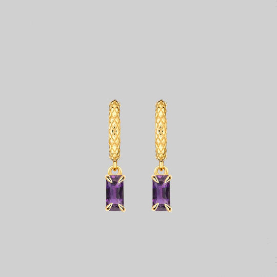 NYMPH. Dangly Amethyst Rectangle Hoop Earrings - Gold
