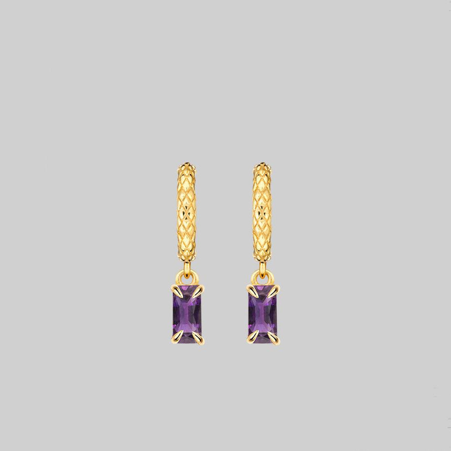 snake skin gold hoop amethyst earrings