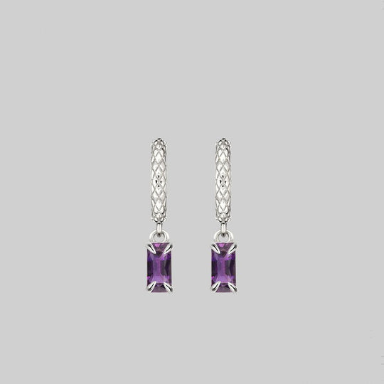 NYMPH. Dangly Amethyst Rectangle Hoop Earrings - Silver
