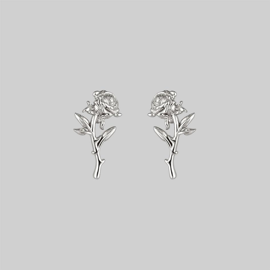 silver rose stud earrings pair