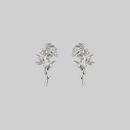 AMOR. Rose Stem Stud Earrings - Silver