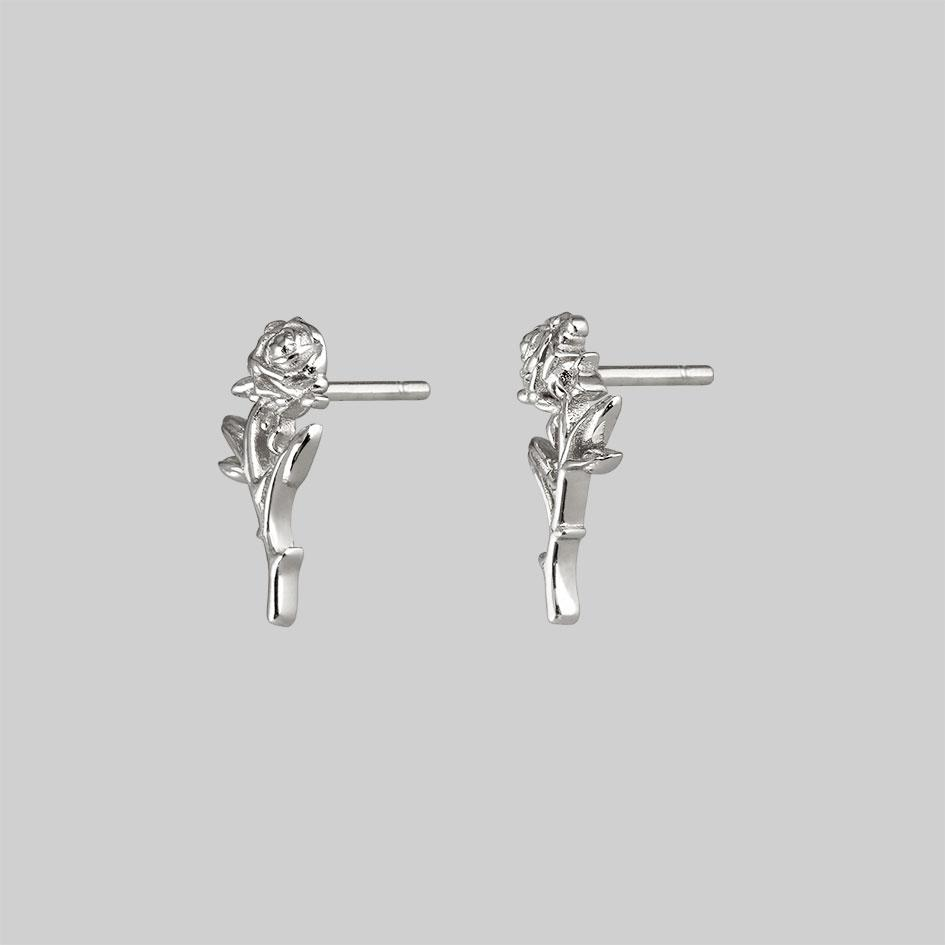 single rose stud earrings, silver lobe earrings