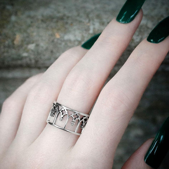NOIR. Gothic Arches Ring - Silver