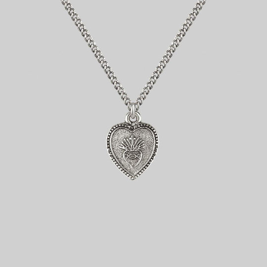 ARDOUR. Sacred Heart Charm Necklace - Silver