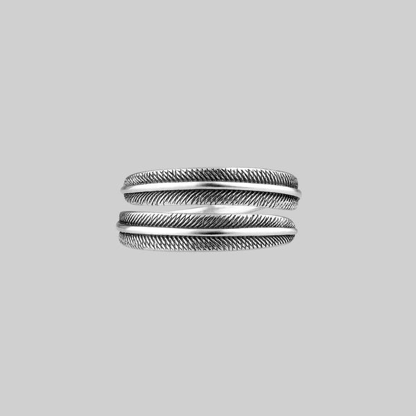 AWAKEN. Feather Wrap Silver Ring