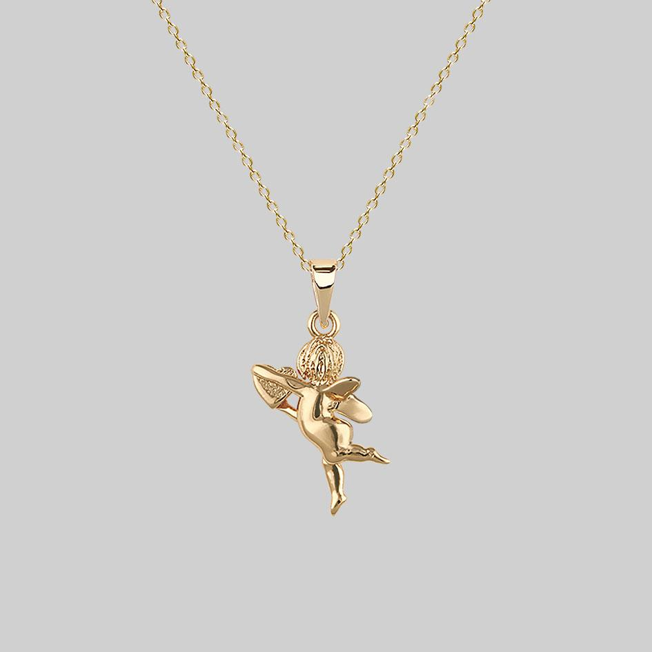 cherub with heart, angel necklace gold