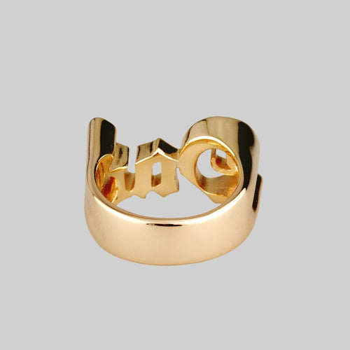 chunky word ring gold