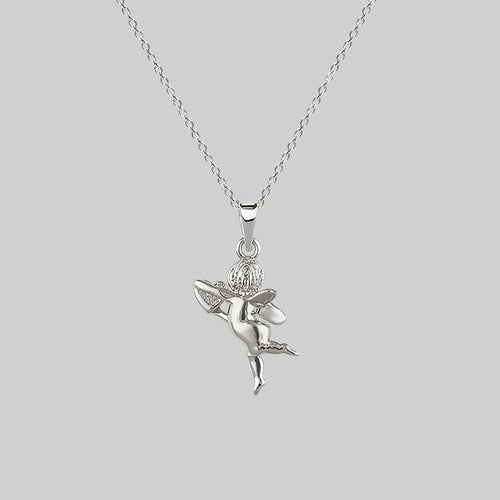 cherub with heart, angel necklace silver