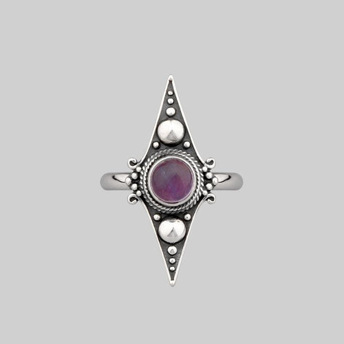 silver diamond dotted Amethyst ring