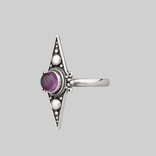 Sterling silver ring with statement Amethyst gemstone