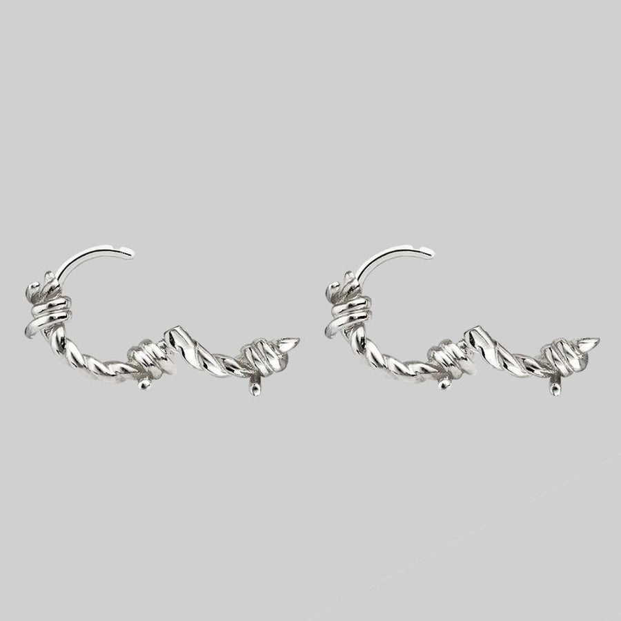 barbed wire hoop earrings sterling silver