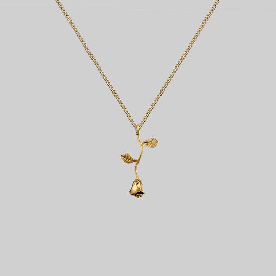 BELLADONNA. Rose Stem Charm Necklace - Gold