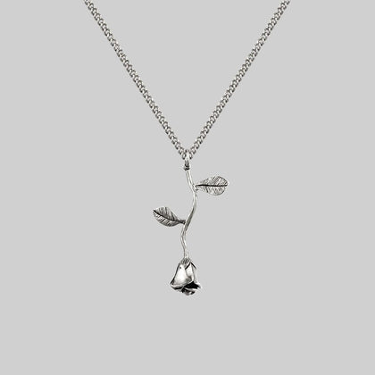BELLADONNA. Rose Stem Charm Necklace - Silver