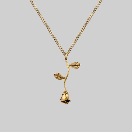 gold single rose necklace