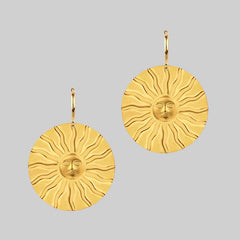 large gold sun earrings