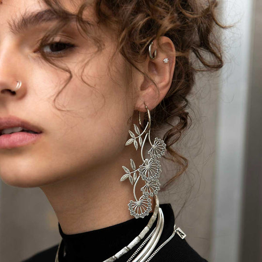 AELLA. Floral Drop Hoop Earrings - Silver