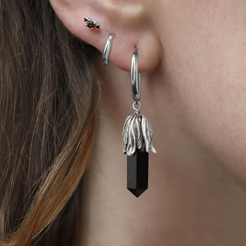 DEATH BLOOM. Black Agate Gemstone Earrings - Silver