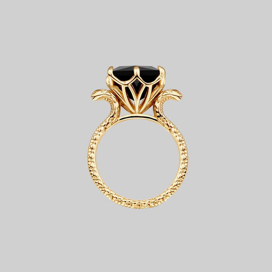 BITTERSWEET. Double Serpent Onyx Ring - Gold
