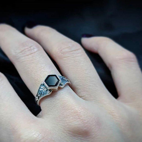 RELIC. Onyx Hexagon Ring - Silver