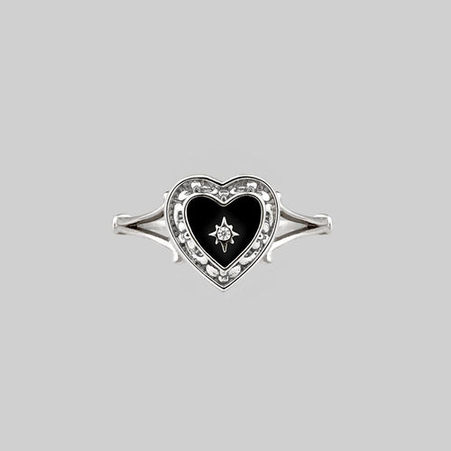 black heart diamond silver ring