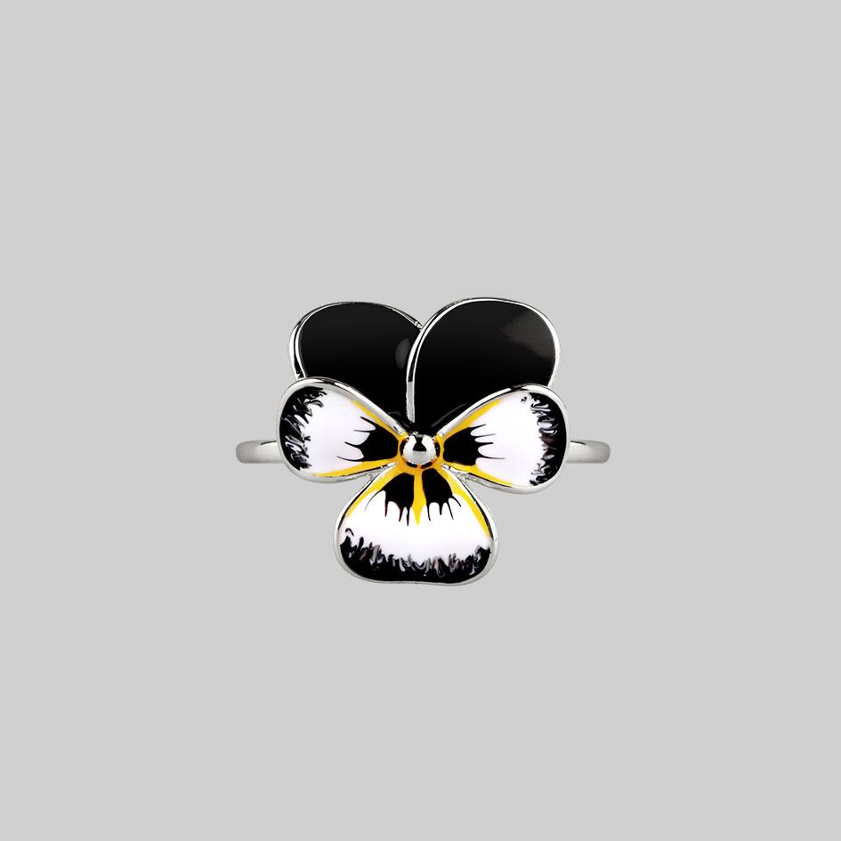 Silver hand painted black pansy ring