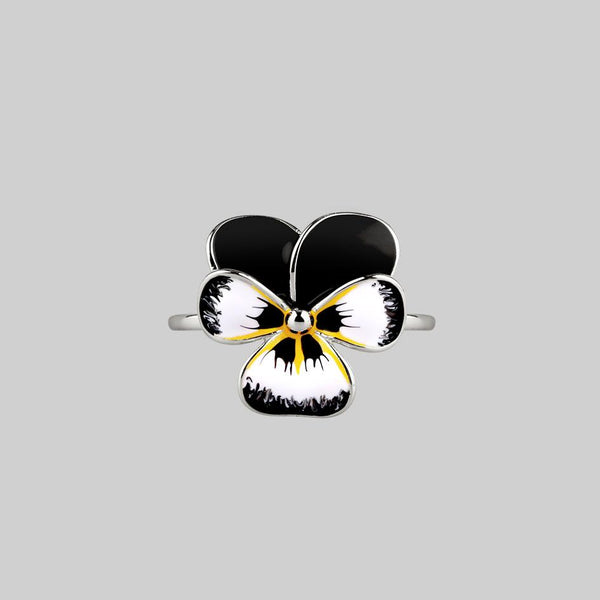 FERVOR. Black Pansy Silver Ring