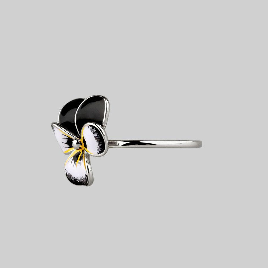 pansy flower silver ring
