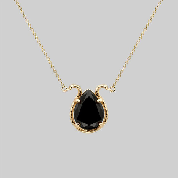 BITTERSWEET. Double Serpent Onyx Necklace - Gold