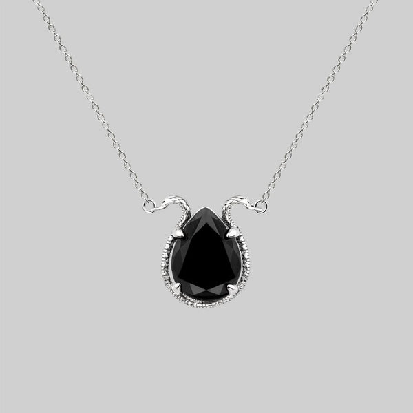 BITTERSWEET. Double Serpent Onyx Necklace - Silver