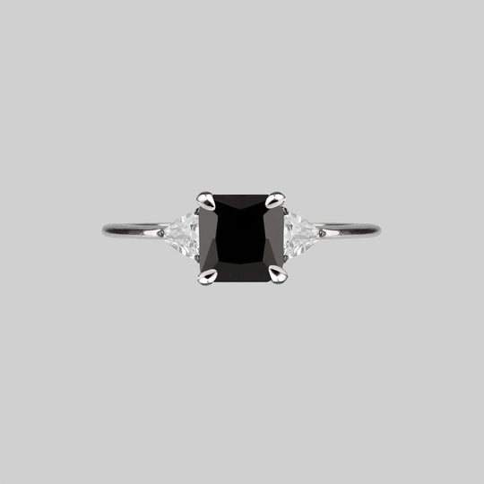 BETROTHAL. Black Spinel Silver Ring