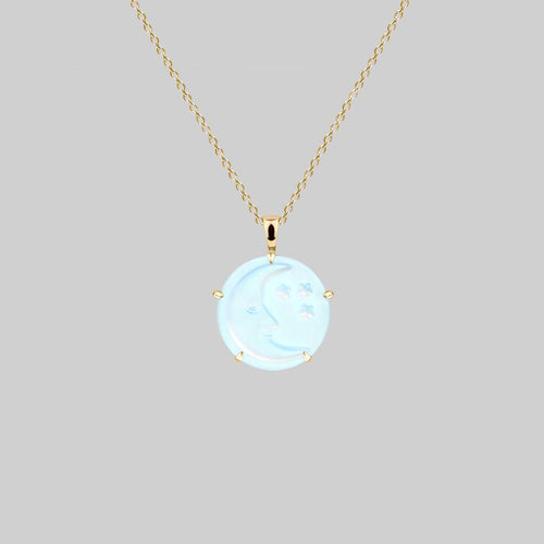 NIGHTS SKY. Vintage Glass Engraved Moon & Star Pendant Necklace - Gold