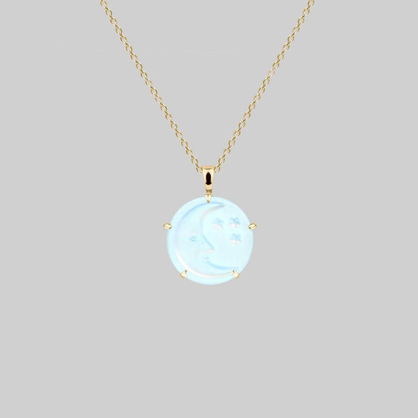 BLUE MOON. Crystal Moon & Stars Necklace - Gold
