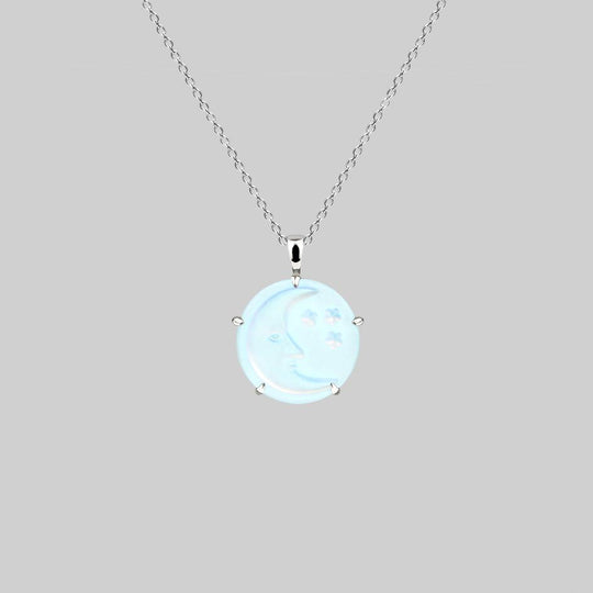BLUE MOON. Crystal Moon & Star Necklace - Silver
