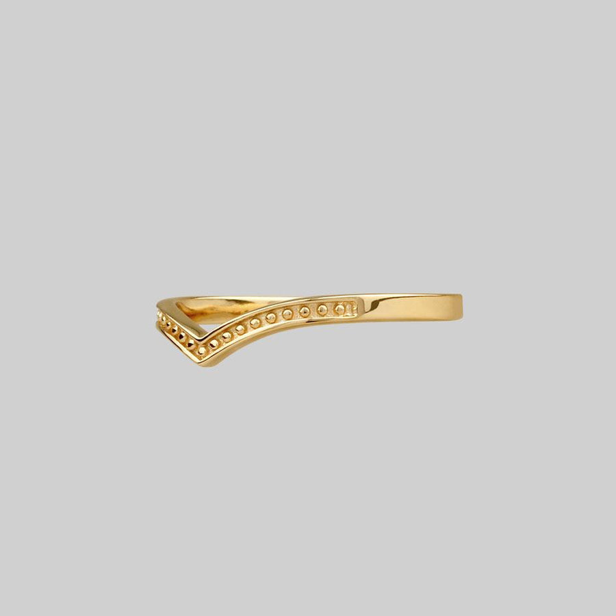 Simple dotted gold chevron wishbone ring.
