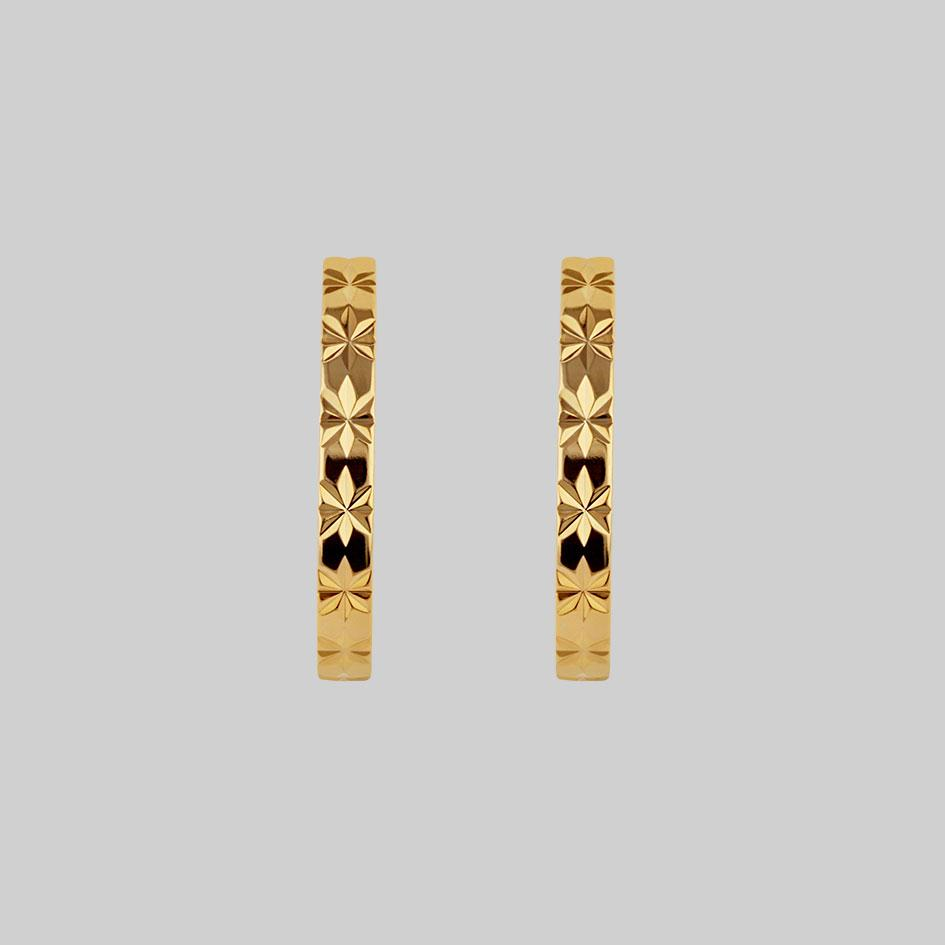 gold star hoops, star pattern earrings
